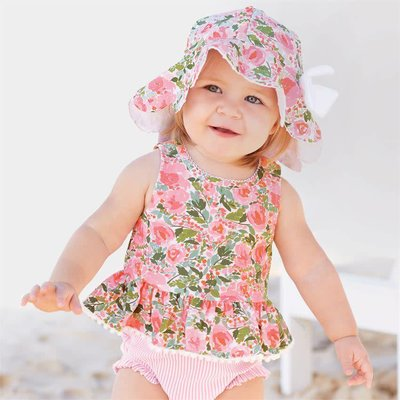 Mud Pie FLORAL SCALLOP SUN HAT