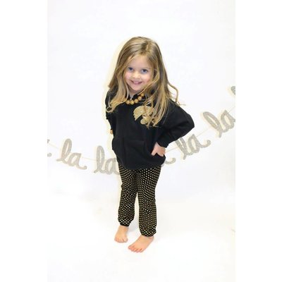 ANDY & EVAN Black With Gold Foil Dot Leggings