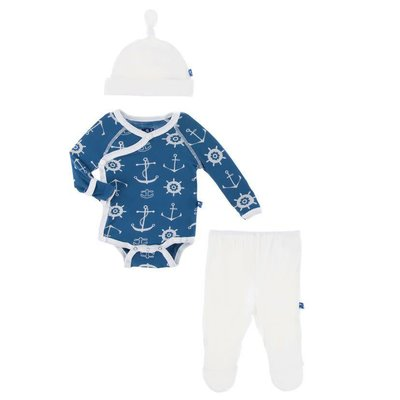 Kickee Pants Kimono Newborn Gift Set with Elephant Box (Twilight Anchor)