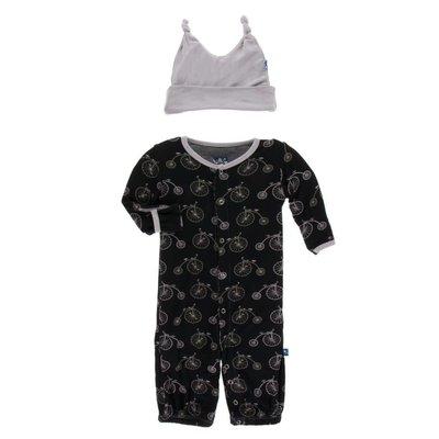 Kickee Pants Print Layette Gown Converter & Knot Hat Set (Boy Midnight Bikes)