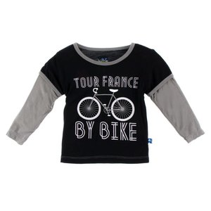 Kickee Pants Long Sleeve Piece Print Double Layer Tee (Tour France By Bike)