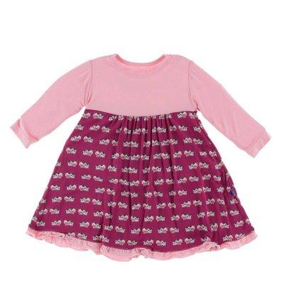 Kickee Pants Long Sleeve Swing Dress (Berry Cow)