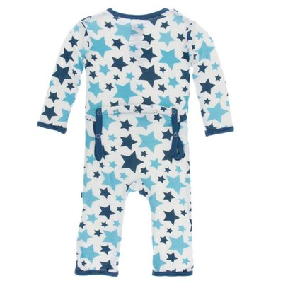 Kickee Pants Print Coverall with Zipper (Confetti Star)