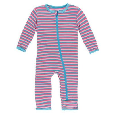 Kickee Pants Print Coverall with Zipper (Flamingo Anniversary Stripe)