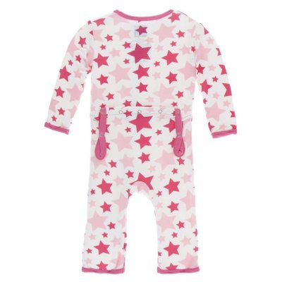Kickee Pants Print Coverall with Zipper (Flamingo Star)