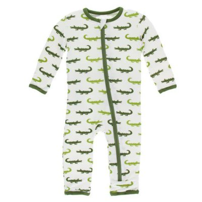 Kickee Pants Print Coverall with Zipper (Natural Crocodile)