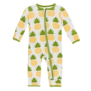 Kickee Pants Print Coverall with Zipper (Natural Pineapple)