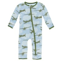 Kickee Pants Print Coverall with Zipper (Pond Airplanes)