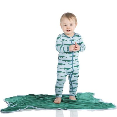 Kickee Pants Print Coverall with Zipper (Pond Crocodile)