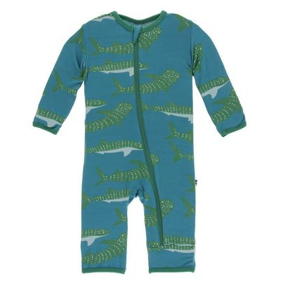 Kickee Pants Print Coverall with Zipper (Seagrass Whale Shark)