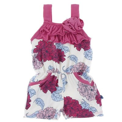 Kickee Pants Print Flower Romper with Pockets (Natural Peony)