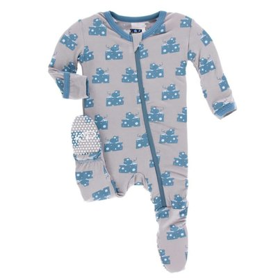 Kickee Pants Print Footie with Zipper (Feather Mouse and Cheese)