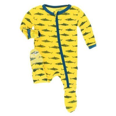 Kickee Pants Print Footie with Zipper (Lemon Shark)