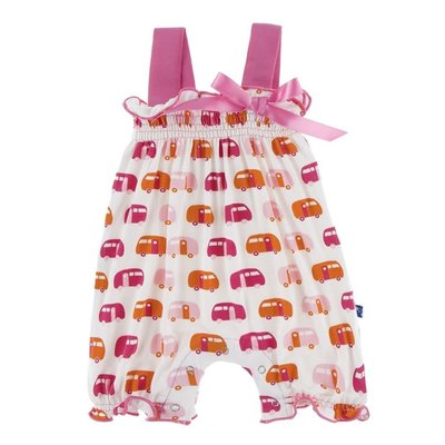 Kickee Pants Print Gathered Romper with Bow (Natural Camper)