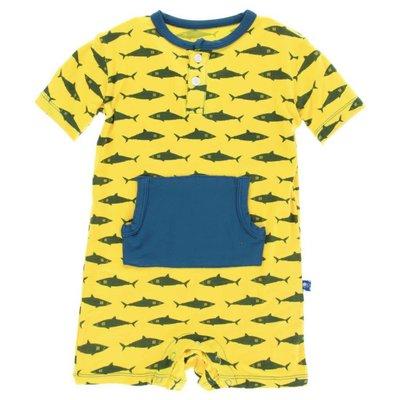 Kickee Pants Print Kangaroo Romper (Lemon Shark)