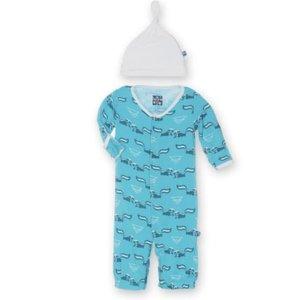 Kickee Pants Print Layette Gown Converter & Knot Hat Set (Confetti Skunk)