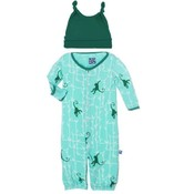 Kickee Pants Print Layette Gown Converter & Knot Hat Set (Glass Forest Monkey