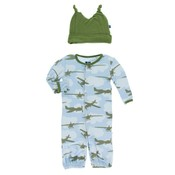 Kickee Pants Print Layette Gown Converter & Knot Hat Set (Pond Airplanes)