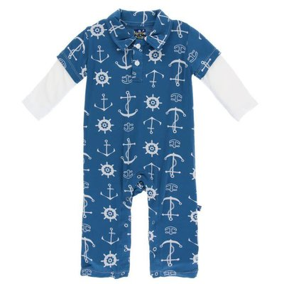 Kickee Pants Print Long Sleeve Double Layer Polo Romper (Twilight Anchor)