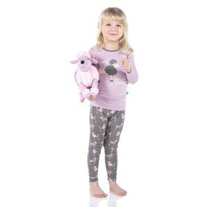 Kickee Pants Print Long Sleeve Pajama Set (Cobblestone Poodle)