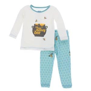 Kickee Pants Print Long Sleeve Pajama Set (Glacier Honeycomb)