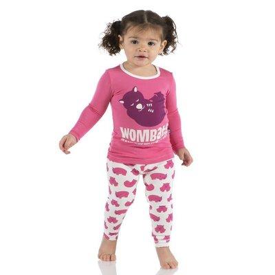 Kickee Pants Print Long Sleeve Pajama Set (Natural Wombat)