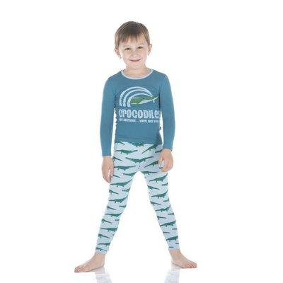 Kickee Pants Print Long Sleeve Pajama Set (Pond Crocodile)