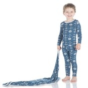 Kickee Pants Print Long Sleeve Pajama Set (Twilight Anchor)