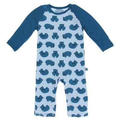 Kickee Pants Print Long Sleeve Raglan Romper (Pond Wombat)