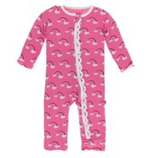 Kickee Pants Print Muffin Ruffle Coverall with Zipper (Flamingo Rainbow)