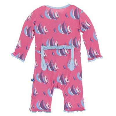 Kickee Pants Print Muffin Ruffle Coverall with Zipper (Flamingo Sailing Race)