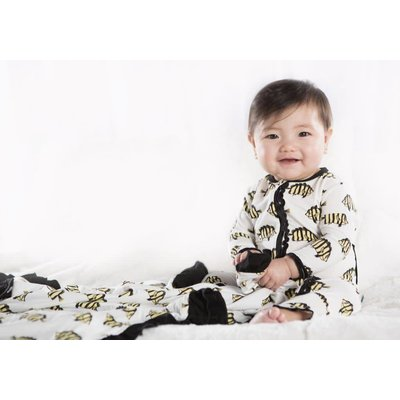 Kickee Pants Print Muffin Ruffle Coverall with Zipper (Natural Butterflyfish)