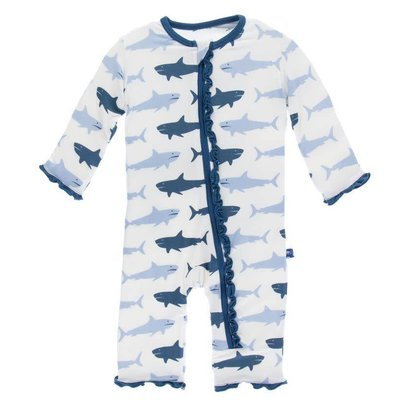 Kickee Pants Print Muffin Ruffle Coverall with Zipper (Natural Megalodon)
