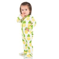 Kickee Pants Print Muffin Ruffle Footie with Zipper (Natural Pineapple)