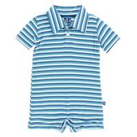 Kickee Pants Print Polo Romper (Confetti Anniversary Stripe)