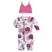 Kickee Pants Print Ruffle Layette Gown Converter and Knot Hat Set (Natural Peony)