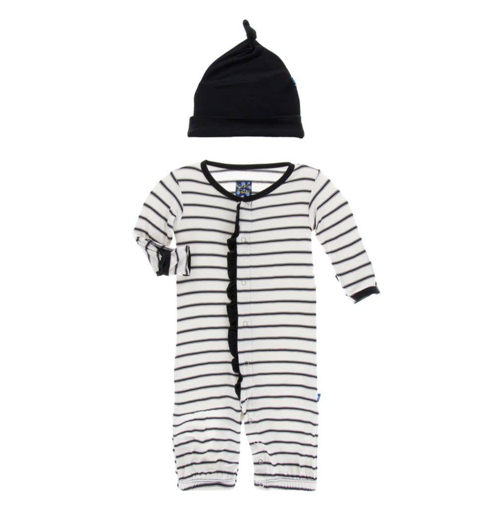 Kickee Pants Print Ruffle Layette Gown Converter and Knot Hat Set ...