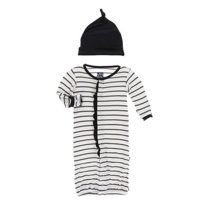 Kickee Pants Print Ruffle Layette Gown Converter and Knot Hat Set (Neutral Parisian Stripe)