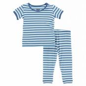 Kickee Pants Print Short Sleeve Pajama Set (Confetti Anniversary Stripe)