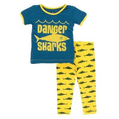 Kickee Pants Print Short Sleeve Pajama Set (Lemon Shark)