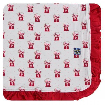 Kickee Pants Print Ruffle Toddler Blanket (Natural Gumball Machine - One Size)