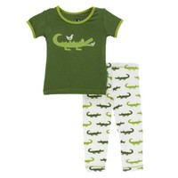 Kickee Pants Print Short Sleeve Pajama Set (Natural Crocodile)