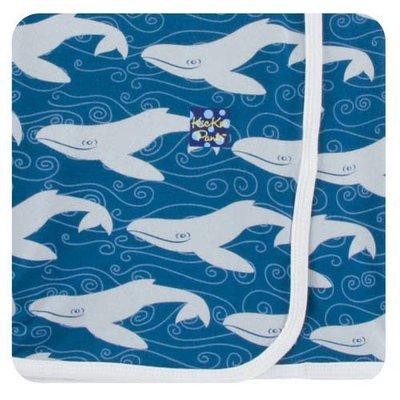 Kickee Pants Print Swaddling Blanket (Twilight Whale - One Size)