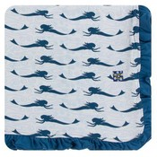 Kickee Pants Print Ruffle Toddler Blanket (Natural Mermaid - One Size)
