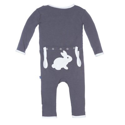 Kickee Pants Holiday Fitted Applique Coverall (Stone Bunny)