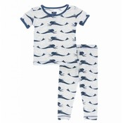 Kickee Pants Print Short Sleeve Pajama Set (Natural Mermaid)
