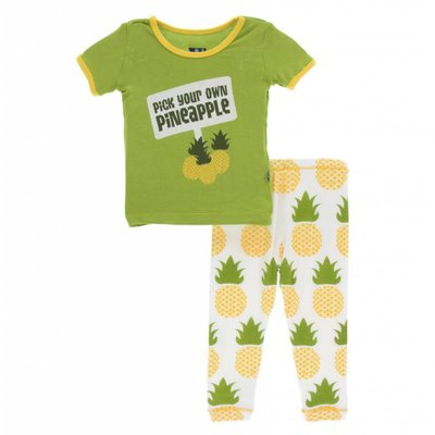 Kickee Pants Print Short Sleeve Pajama Set (Natural Pineapple)