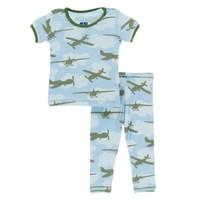 Kickee Pants Print Short Sleeve Pajama Set (Pond Airplanes)