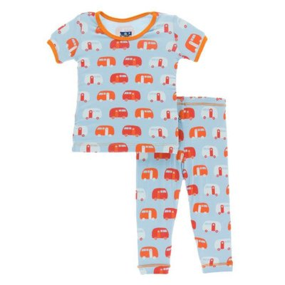 Kickee Pants Print Short Sleeve Pajama Set (Pond Camper)