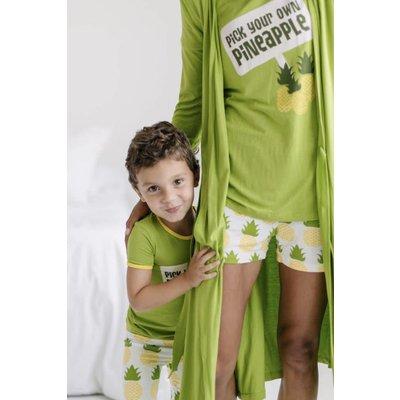 Kickee Pants Print Women's Short Sleeve Pajama Set with Shorts (Natural Pineapple)